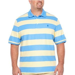 NEW Men's Size 3XLT Izod Blue Striped Polo Shirt